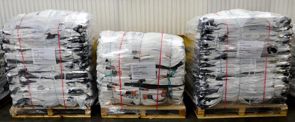 bulk bags compacted and ready for reuse