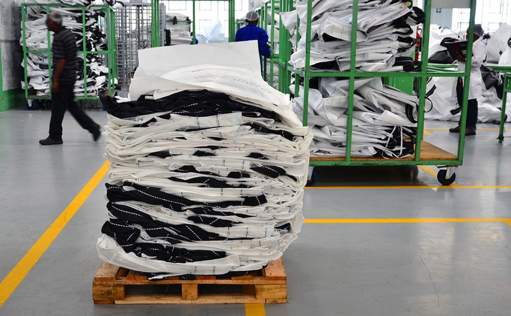 bulk bags placed on one another