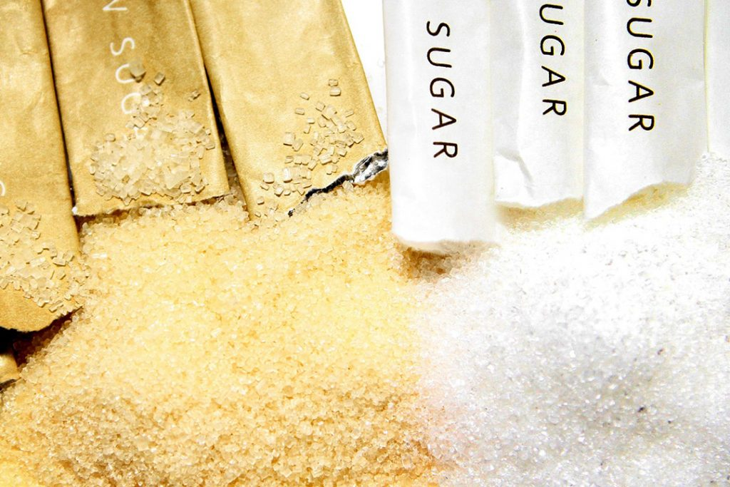 White and brown sugar from packets
